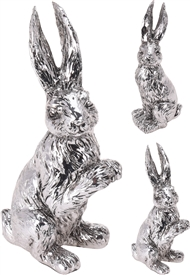 Large Silver Bunny Ornament  2 Assorted 21cm