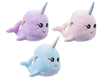 23cm Narwhal Plush Beanie 3 Assorted