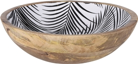 Wooden Bowl With Leaf Design