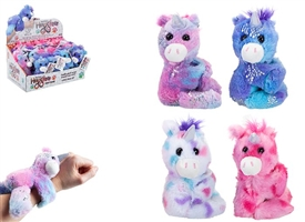 Mini Plush Unicorn Hugglers Snap Bands 4 Assorted 12cm