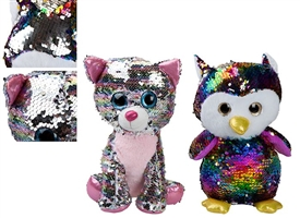 10cm Plush Glitzies Sequin Colour Change Animals 2 Assorted