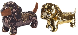 Sequin Sausage Dog 2 Assorted 28cm