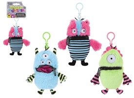 Worry Monster On Clip 3 Assorted 15cm