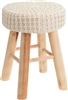 Wooden Stool With Cream Cushion Top 43cm