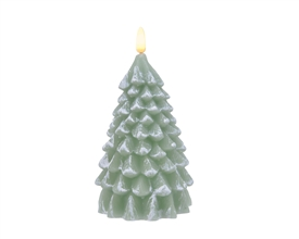 Wax Tree with LED Flame Effect Candle - Sage Green