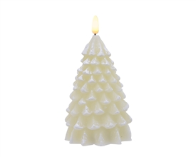 Wax Tree with LED Flame Effect Candle - Winter White