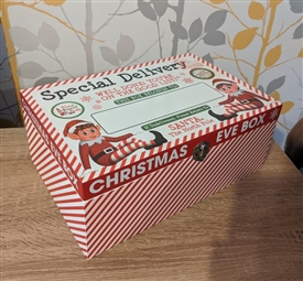 Wooden Elf Christmas Eve Box With Blackboard Top