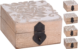 Wood Box With Leaf Effect 4 Assorted 10cm
