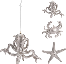 Hanging Silver Sealife Decoration 3 Assorted 12cm