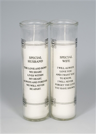 Glass Grave Candle Husband/Wife - 2 Assorted