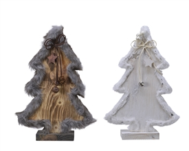 Pinewood Tree with Faux Fur Trim 2 Asst