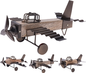 Wood And Metal Plane Decoration 3 Assorted