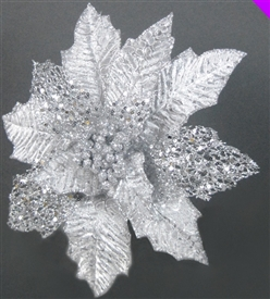 Oil Effect Silver Poinsettia 28cm