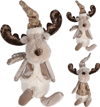 Plush Sitting Reindeer Gold 2 Assorted