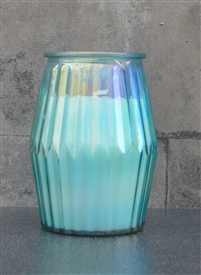 Cotton Candle In Ridged Glass Jar 13cm