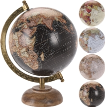 Globe On Wooden Base 5�  4 Assorted