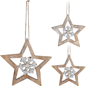 Wooden Star With Snowflake Hanging Decoration