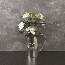 Metal Jug With Artificial Flowers 41cm