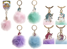 Pom Pom With Unicorn Keychain