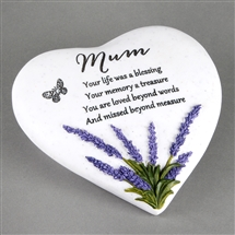Thoughts Of You Heart Lavender Stone Mum 15cm