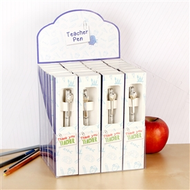 'Worlds Best Teacher' Boxed Silver Pen With Apple Decoration