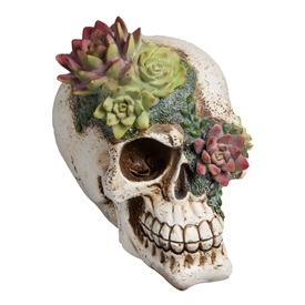 Resin Floral Skull Ornament  17cm