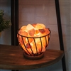 Himalayan Salt Rock In Basket Lamp