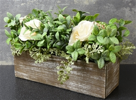 White Roses In Wood Box
