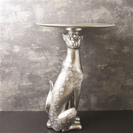 Silver Leopard Antique Table 52cm