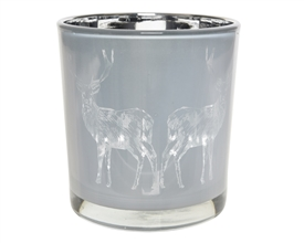 Frosted Silver Tealight Holder with Deer Design 8cm