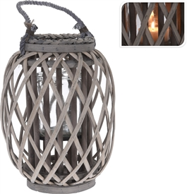 Willow Lantern With Glass Jar