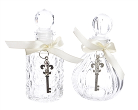Mini Decorative Glass Bottle with Key 2 Asst