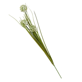 Single Stem Grass With 3 White Billy Button Heads 68cm
