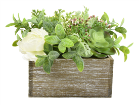 Flowers and Herbs Arrangement In A Square, Wooden Box 17cm