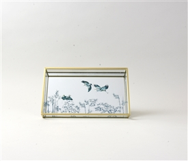 Oriental Heron Design Mirrored Glass Trinket Tray 24cm