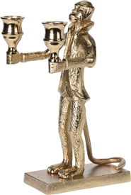 Gold Monkey Holding 2 Candle Holders 16cm