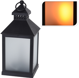 LED Black Lantern With Opaque Panels 23cm