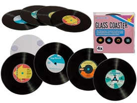 Set Of 4 Glass Record Coasters
