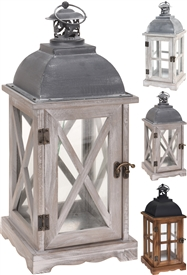 Standing Rustic Wooden Latern 3 Assorted 41cm