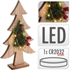Wood Xmas Tree With LED Lights 28cm