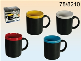 Coloured Top Mug With Chalk 4 Assorted 11cm