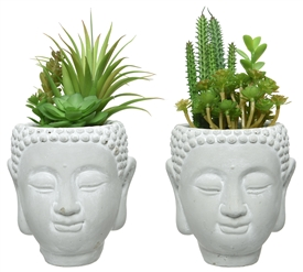 Artificial Succulent Plant In Buddha Head Pot- 2 Assorted- 23cm