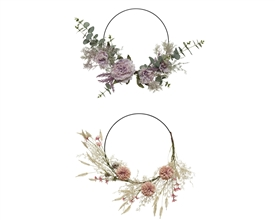 Fabric Flower Ring Garland- 2 Assorted- 44cm
