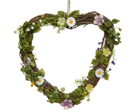 Hanging Heart Natural Flowers Home Decoration- 31cm