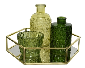 4 Piece Glass Tray And Decorative Green Glass And Bottles Set- 22cm