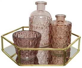 4 Piece Glass Tray And Decorative Pink Glass And Bottles Set- 22cm