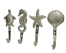 Silver Aluminium Seaside Theme Wallhook- 3 Assorted- 18cm