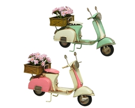 Retro Metal Scooter Ornament With Flower Box On Back- 2 Assorted- 18cm