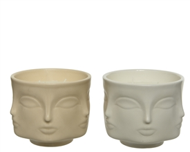 Multiple Faces Round Scented Candle- 2 Assorted- 11cm