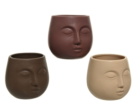 Embossed Face Earthy Coloured Porcelain Planter- 3 Assorted- 11.4cm